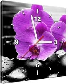 Obraz s hodinami Fialová orchidea 30x30cm ZP1379A_1AI