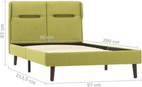 Posteľ s LED svetlom zelený textil Dekorhome 90x200 cm