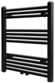 vidaXL Čierny rebríkový radiátor na centrálne vykurovanie, rovný 600 x 764 mm