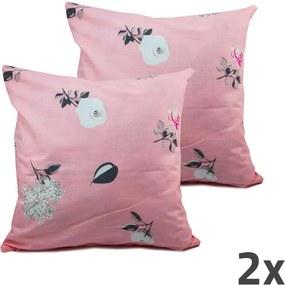 Home Elements Povlak na vankúš, ružový, kvetinky, sada 2 ks