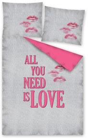 DETEXPOL Obliečky All you need is LOVE Bavlna, 140/200, 70/80 cm
