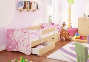 MAXMAX Detská posteľ KVETY funny 180x90 cm - sa zásuvkou 180x90 pre dievča ÁNO