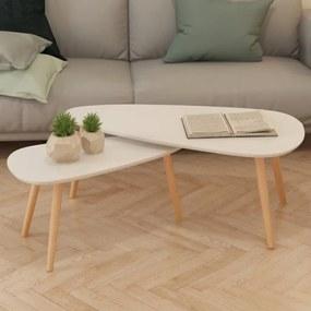 vidaXL Súprava 2 bielych konferenčných stolíkov, masívne borovicové drevo