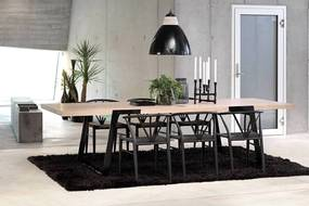 Luxusný jedálenský stôl Zora 290 - 410cm prírodná/čierna