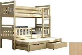 FA Petra 5 200x90 poschodová posteľ s prístelkou Farba: Prírodná