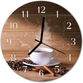 Nástenné sklenené hodiny  káva