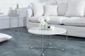 Konferenčný stolík - ušľachtilý biely mramor, strieborný rám