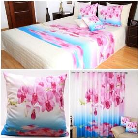 DomTextilu Modro-biely set 3D do spálne s kvetmi ružovej farby 1 prehoz, 2 obliečky na vankúše a 1 záves Ružová 4282 Ružová