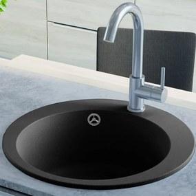Granitový kuchynský drez s jednou vaničkou, okrúhly, čierny