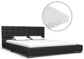 vidaXL Posteľ s matracom, čierna, umelá koža 140x200 cm