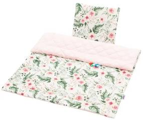 NEW BABY New Baby Velvet Obojstranný Set z Velvet do kočíka New Baby kvety ružová Ružová  