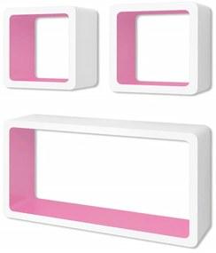 3 bielo-ružové plávajúce nástenné police z MDF v tvare kocky