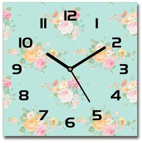 Sklenené hodiny štvorec Kvetinový vzor pl_zsk_30x30_f_86006701
