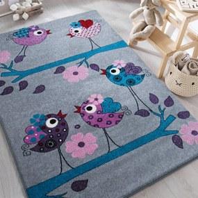 DY Detský sivý koberec Vtáčiky Rozmer: 300 x 400 cm