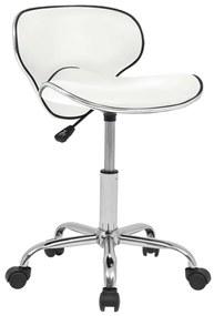 Otočná barová stolička z umelej kože, biela