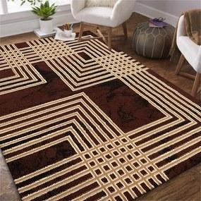 DomTextilu Moderný hnedý koberec s geometrickým motívom štvorcov 40347-185065