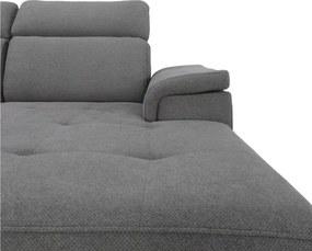 TEMPO KONDELA Tamira P rohová sedačka s rozkladom a úložným priestorom sivá