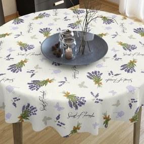 Goldea dekoračný obrus verona - vzor levandule a motýle na smotanovom - guľatý Ø 130 cm