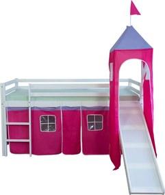 Homestyle4U Detská poschodová posteľ Veža, borovica - 90x200 cm, ružová