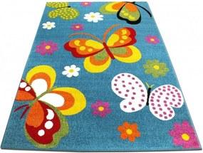 Detský koberec Motýle modrý, Velikosti 200x290cm