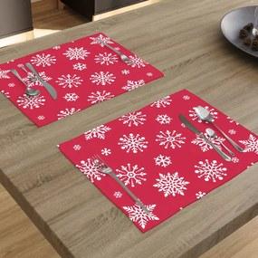 Goldea vianočné bavlnené prestieranie na stôl - vzor vločky na žiarivo červenom - 2ks 30 x 40 cm
