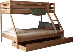 MF Mikael poschodová posteľ s rozšíreným lôžkom 200x140 + prístelka