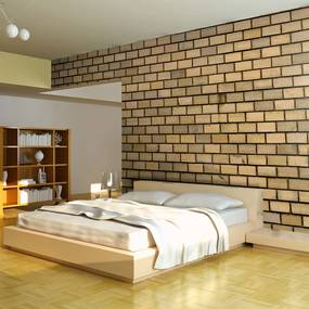 Fototapeta - Brick wall in beige color 400x309