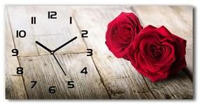 Sklenené hodiny na stenu Ruže na dreve pl_zsp_60x30_f_99658852