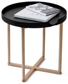 Čierny odkladací stolík z dubového dreva s odnímateľnou doskou Wireworks Damieh, 45 × 45 cm