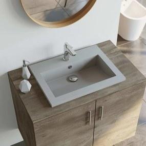 vidaXL Granitové umývadlo sivé 600x450x120 mm