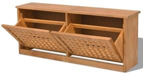 Úložná lavica na topánky z masívneho orechového dreva, 94x20x38 cm