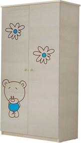 DO Detská skriňa Macík modrá gravírovaná