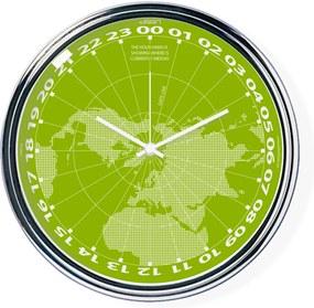 Zelené hodiny s chodom 24h ukazujúce na mape, kde je práve poludnie | atelierDSGN