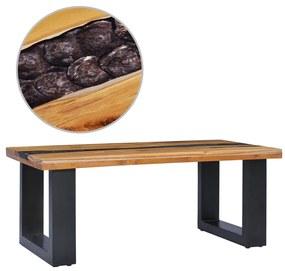 vidaXL Konferenčný stolík 100x50x40 cm masívne teakové drevo a polyresin