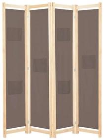 vidaXL 4-panelový paraván hnedý 160x170x4 cm látkový