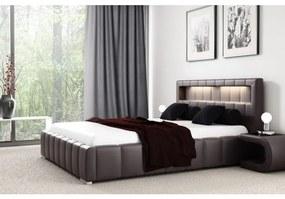 Manželská posteľ Fekri120x200, hnedá eko koža