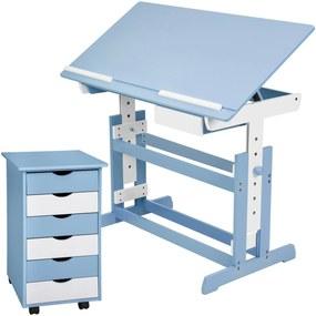tectake 401241 detský písací stôl rastúce s pojazdným kontajnera - modrá