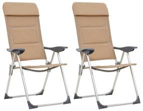 vidaXL Kempingové stoličky 2 ks krémové 58x69x111 cm hliníkové