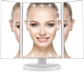 BEZDOTEKU Třípanelové kozmetické make-up zrkadlo s led osvetlením biele