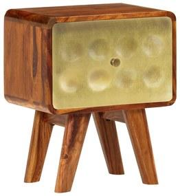 vidaXL Nočný stolík 49x40x30 cm masívne sheeshamové drevo so zlatou potlačou