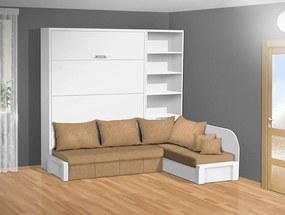 Nabytekmorava Sklápacia posteľ s rohovou pohovkou VS 3075P - 200x140 cm nosnost postele: štandardná nosnosť, farba lamina: biela 113, farba pohovky: nubuk 133 caramel