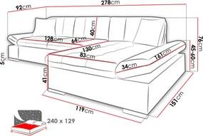 Moderní rohová sedačka Malaga, bílá/tmavě šedá  Roh: Orientace rohu Levý roh