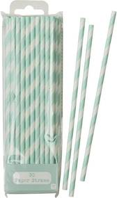 Talking Tables Papierové slamky Mint Stripe - set 30 ks
