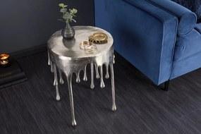 Bighome - Príručný stolík LIQUIDE 51 cm - strieborná