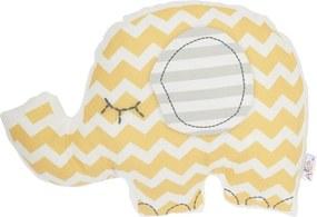 Žltý detský vankúšik s prímesou bavlny Apolena Pillow Toy Elephant, 34 x 24 cm