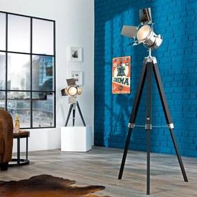 Bighome - Stojáca lampa HOLLY, 95-140 cm - čierna, strieborná