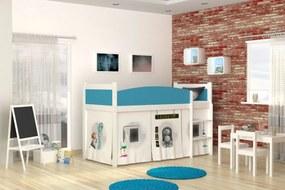 GL Detská posteľ s vyvýšeným lôžkom Swing laboratórium 03 rošt + matrac zadarmo Farba: Biela
