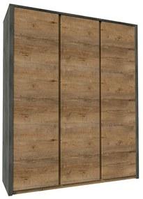 TEMPO KONDELA Montana S3D šatníková skriňa dub lefkas tmavý / smooth sivý