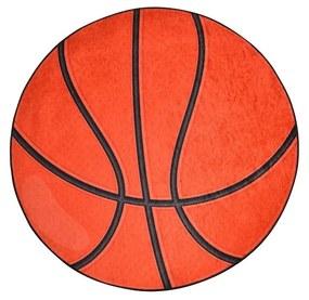 Oranžový detský protišmykový koberec Chilam Basketball, ø 140 cm
