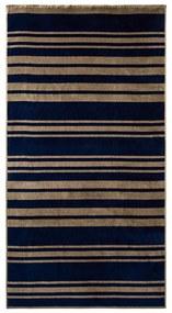 CRIVIT® Velúrová plážová osuška, 93 x 170 cm (pruhy hnedá / námornícka modrá ), viacfarebná hnedá / modrá (100290415)